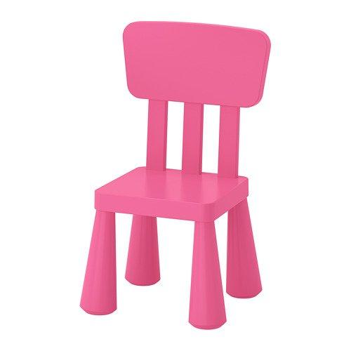 "IKEA Kinderstuhl ""MAMMUT"" Kindermöbel Stuhl in kräftigem ROSA aus unbedenklichem Kunststoff - BxTxH: 39x36xx67cm"