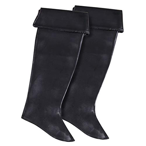 Pirat-schwarz-erwachsene Stiefel (Thetru Ladylike-Stiefel-Stulpen in schwarz | Einheitsgröße Erwachsene | Piraten-Stiefel-Stulpen für Damen zu Karneval und Fasching)