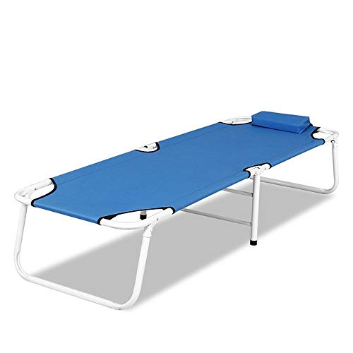 Faltbare Camping Bett Klappbett Krankenhaus Begleitende Betten Home Single Office Siesta Marschieren Strand im Freien für Wandern und Outdoor-Nutzung (Farbe : Blau, Größe : 180 * 60 * 35cm)