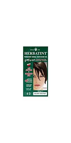 teinture pour les cheveux coloration permanent sans ammoniaque naturel Herbatint 265 Ml N. 4 D couleur brun d'or