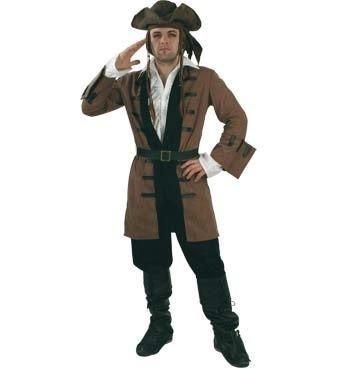 Fasching Karneval Kostüm Captain Henry Long-Jacke m.Gürtel, Pirat: Größe: XXL