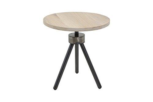 Beistelltisch Rund Massivholztisch kleiner Tisch Eiche grau gekelkt (Eiche Runde Beistelltisch)