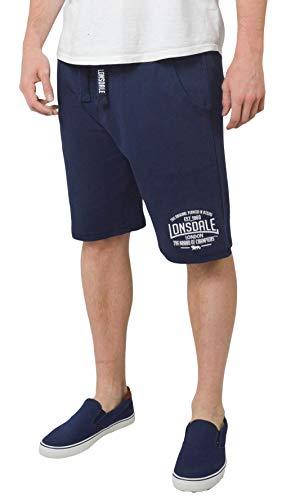 ex Lonsdale Herren Sweat Shorts Boxen Gym Running Activwear Baumwolle Jersey Gr. XL, Navy