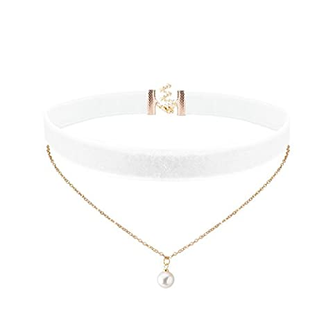 Jane Stone Ladies White Choker Necklace 2 Rows Double Chain with White Faux Pearl Plain Velvet Elegant Collar for Women and Girls