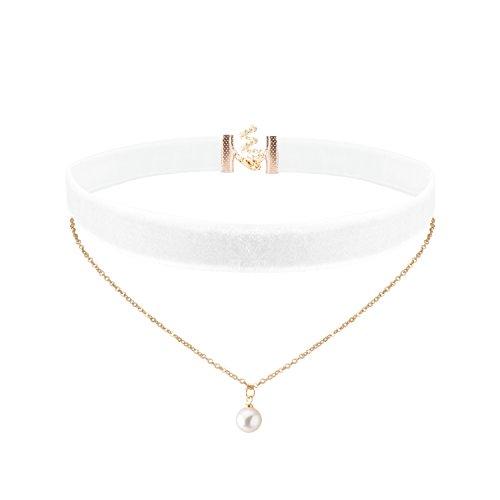 Jane-Stone-Damen-Halskette-Velvet-Choker-2-reihig-Metall-Gliederkette-mit-Perle-Anhnger-Choker-Kette-aus-Zierperle-Samt-und-Metalllegierung