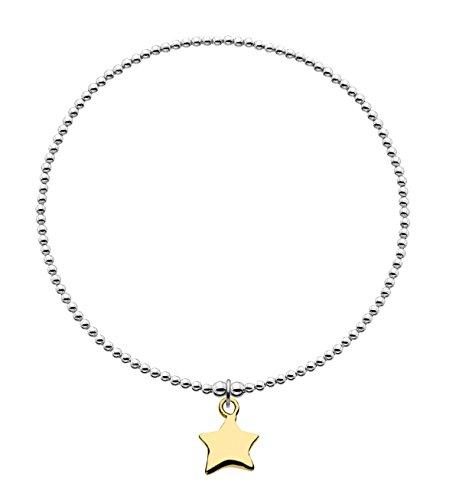 DewBraccialetto elastico in argento Sterling e placcato oro, con ciondolo a forma di stella