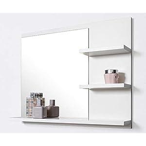 Badspiegel mit Ablagen, Weiß Badezimmer Spiegel, Wandspiegel, Badezimmerspiegel
