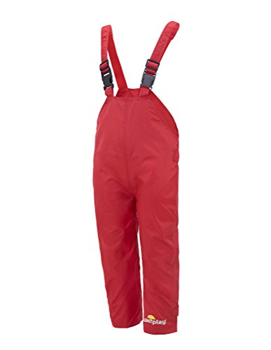 WETPLAY KIDS WATERPROOF DUNGAREES RAIN OVER TROUSERS BOYS GIRLS CHILDS CHILDRENS (7-8 Years, Red)