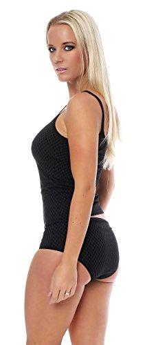 Damen Dessous-Top Baumwolle bedruckt, Unterhemd von Schöller, Farben Schwarz oder Weiss, Größen 36-46 Schwarz