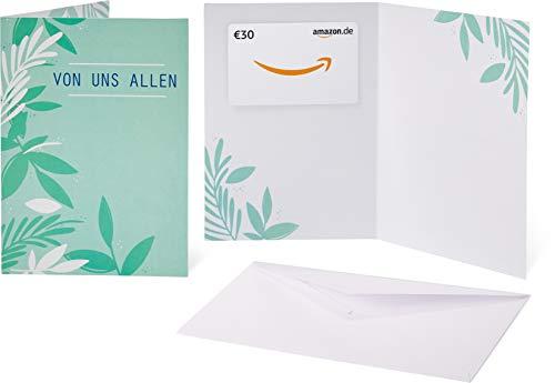 Amazon.de Geschenkkarte in Grußkarte - 30 EUR (Von uns allen - Blätter) -
