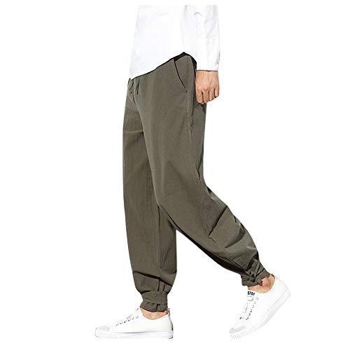 UJUNAOR Herren Haremshose Goa Hosen Lose Laterne Hose Vintage Nationaler Stil Casual Breitbeinige Pluderhosen(Armygrün,CN 3XL)