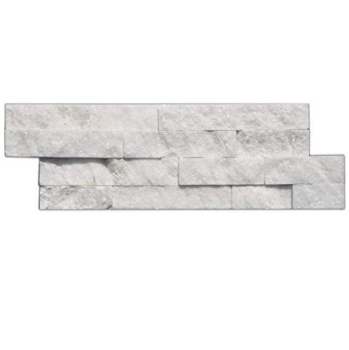 Brickstones, Wandverblender, Mauerverblender Naturstein 15x60 cm Quarzit weiß, MOES522, 1 Kart. = 0,50 qm