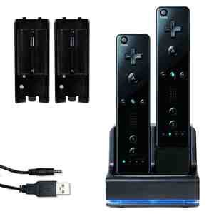 Price comparison product image Invero Nintendo Wii Black Dual Twin Motion Plus Charging Charge Dock Station with 2x Rechargeable Battery Plus LED Light for Remote Control (Compatible with or without MotionPlus)