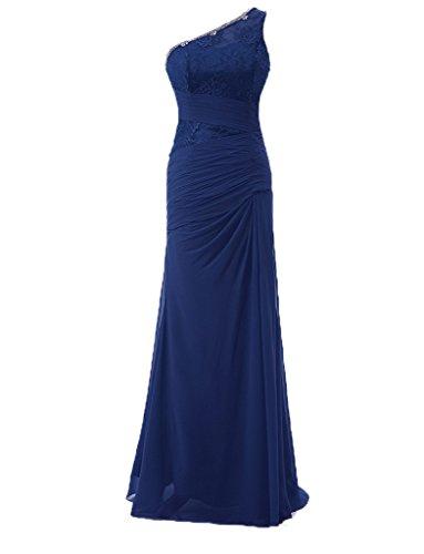 jydress femmes robes de soirée perles en mousseline de soie en dentelle Soirée et Party robe Sirène 2016pour Mariée Bleu - Bleu marine