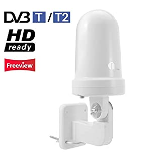 1byone Indoor/Outdoor Digital TV Aerial for HDTV/DVB-T Receiver, VHF/UHF/FM, Digital Freeview and Analog TV Signals, SMD Circuit Technology, Anti-UV Coating
