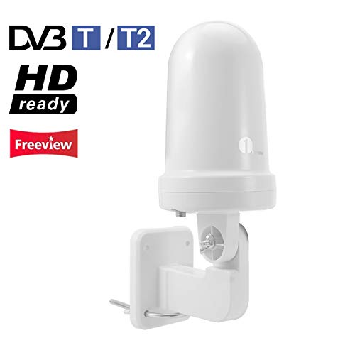 1byone DVB T/T2 Antenne Zimmer- / Außenantenne für VHF/UHF/FM, omnidirektionale Empfangssignal Digitale DVB T und analoge TV Signale, SMD Schaltungstechnik, Anti-UV Beschichtung, Wasserdicht