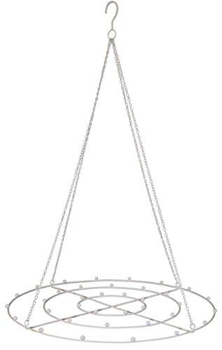 HSM ausgefallener und dekorativer Hänge-Kranz Deko-Kranz Metall Weiss ca. 44 cm Durchmesser x 69 cm lang