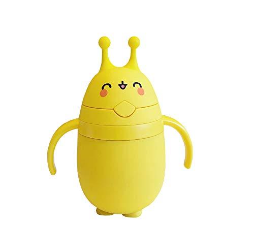 Kicat® Cartoon mit Trinkhalm Glasgriff Flasche Kind Hohe Temperatur Wasserbecher niedliches Doppel-Baby-Geschenk 320 ml (001: Squinting)