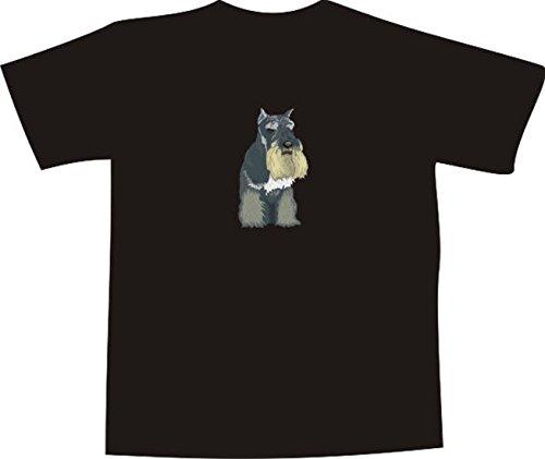 T-Shirt E609 Schönes T-Shirt mit farbigem Brustaufdruck - Logo / Grafik - Comic Design - schöner großer Hund / Riesenschnauzer Mehrfarbig