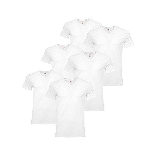 LEVIS Herren 6 Pack - Unterhemden, T-Shirt Rundhals oder V-Neck, Kurzarm, (3x2er Pack) Weiß (V-Ausschnitt)