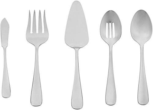 AmazonBasics 5-Piece Stainless Steel Serving Set with Round Edge