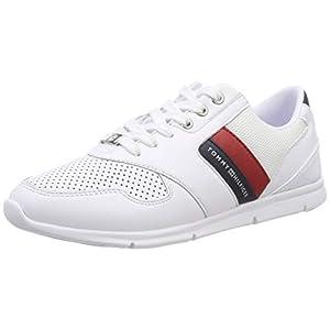 Tommy Hilfiger Women's Lightweight Leather Sneaker Low-Top, Red, 39 EU 6 UK