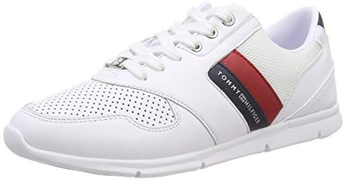 Tommy Hilfiger Lightweight Leather Sneaker, Scarpe da Ginnastica Basse Donna, Rosso (RWB 020), 39 EU