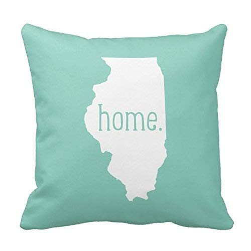 Klotr Kissenbezug, Square Illinois Home State Throw Pillow Cover Cotton Pillowcase Cushion Cover 18 x 18 Inches Illinois Home Jersey