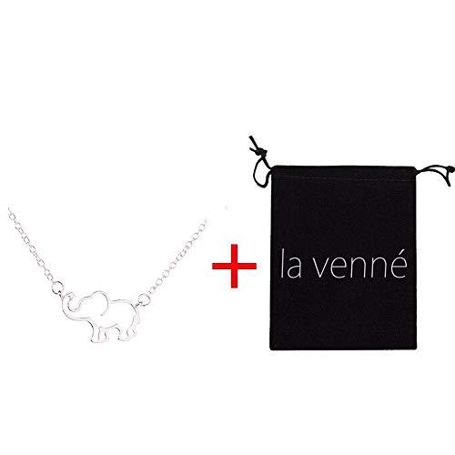 (TINGSU Halsketten für Damen, modisch, einfache Elefanten-Halskette, weibliche Halskette, hohl, Anhänger für Damen und Halskette, Flanell-Aufbewahrungstasche (Gold))