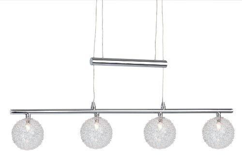 Nino Leuchten NV-Jojo-Pendel Spider / Länge: 60 cm / höhenverstellbar / chrom mit Drahtkugelgeflecht / 4-flammig 33360406