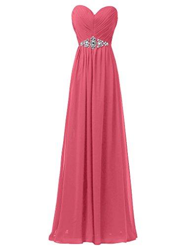 Sunvary Elegant Neu Herzform Chiffon Lang Paillette Abendmode Abendkleid Partykleider Wassermelone