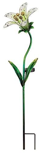 Regal Art und Gift Solar Glas Tiger Lily - White - Ø23cm x 84cm - handbemaltes Glas -