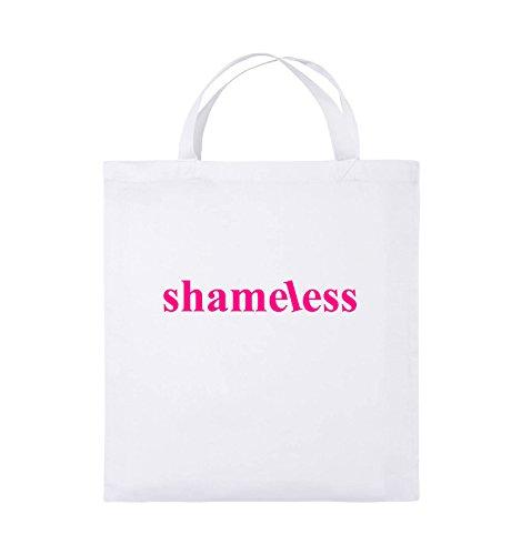 Comedy Bags - shameless - LOGO - Jutebeutel - kurze Henkel - 38x42cm - Farbe: Schwarz / Pink Weiss / Pink