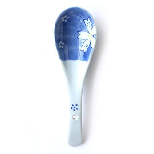 Ensemble de 3, cuillère en céramique de conception d'art de cuillère de modèle oriental parfait pour l'usage de famill