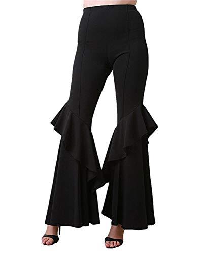 Hosen Kostüm Disco Damen - GODGETS Hippie Schlaghose für Damen - Schöne Disco Hose im 70er Jahre Hippie Stil für Damen Schlager Mottoparty oder für Fasching und Karneval,Schwarz,M