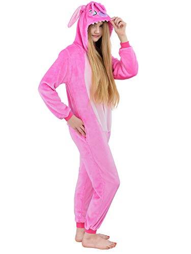 Kostüm Frauen 007 - Unbekannt Damen Fleece Einteiler Nachtwäsche Pyjama Kostüm Kapuze Stich rosa Gr. M