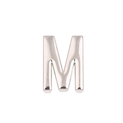 LUXERY Charms Anhänger Buchstabe Individuelle Charm austauschbar für Edelstahl Armband Damen Schmuck selber gestalten Mesh Silber Schmuck Frauen -