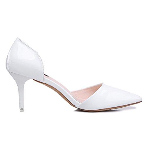 Einfache Lackleder Spitze Damen Schmale Klobige Absatz White-Collar Tägliche Arbeitsschuhe Pumps Weiß