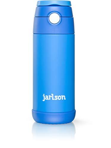 Jarlson Trinkflasche Kinder | Thermo Edelstahl Wasserflasche 350ml | BPA frei | auslaufsicher | Kinderflasche mit Strohhalm | Flasche für Schule, Sport, Kindergarten (Blau, 350 ml)