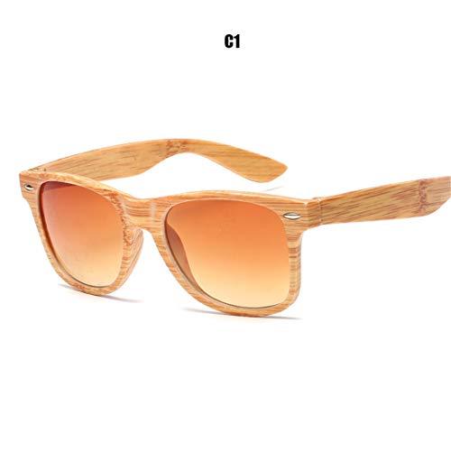 DAIYSNAFDN Woodgrain Pc Frame Sonnenbrille Square Retro Sonnenbrille Unisex Erwachsene Sonnenbrille C1