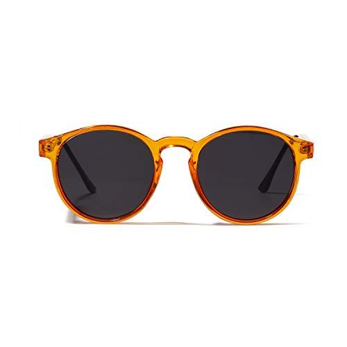 (QIAN Runde Halbmetall Orange Sonnenbrillen Neu Retro Mode Brille Damenmode Zubehör,A)