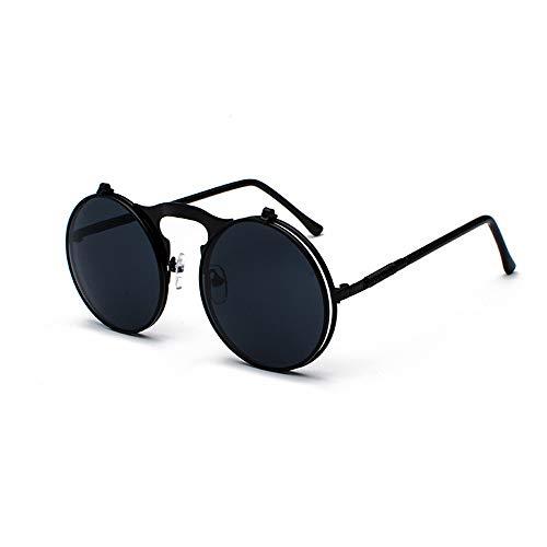 HUWAIYUNDONG Sonnenbrillen,Vintage Steampunk Flip Design Sunglasses Retro Round Metal Frame for Men Women Circle Glasses BlackGrey
