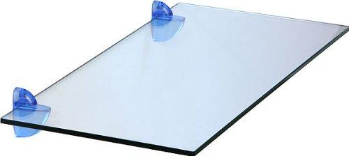 IB-Style - Glasregal + Clips Cucalino BLAU | 9 Abmessungen | Klarglas oder Satiniert | Clips 4 Farben - wählbar | Stärke 8 mm | 400x300x8 mm KLARGLAS - Regalsystem Wandregal Glasablage Glasboden Glasplatte Glas regal Badablage Wandablage