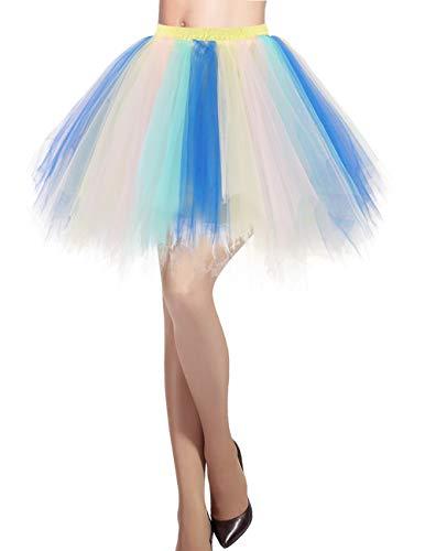 llrock 50er Rockabilly Petticoat Tutu Unterrock Kurz Ballett Tanzkleid Ballkleid Abendkleid Gelegenheit Zubehör Blue-Champagne M ()