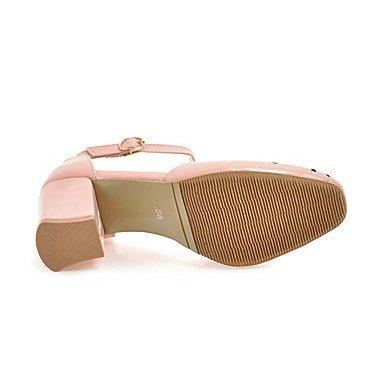 zhENfu Donna Sandali scarpe Club similpelle estate cava Casual-out Chunky Heel arrossendo Rosa Giallo Beige Bianco Nero 3A-3 3/4in White