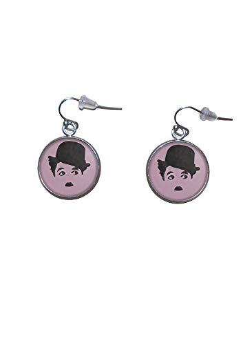 Edelstahl hängende Ohrringe, Durchmesser 20mm, handgemacht, Illustration Charlie Chaplin 3 (Juwelen Klassiker)