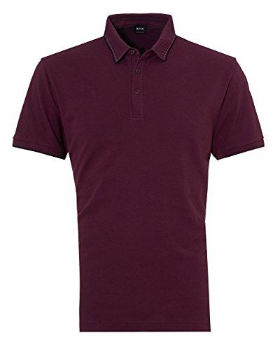 Boss Orange Hugo Mens Payout Polo, Burgundy Stitched Polo Shirt