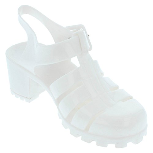 Girls Spot On Chaussures Talons Jelly Blanc