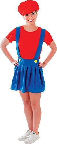 Klempner Womens Kostüm - Damen Kleid Kostüm Party Video Game Super Mario Klempner Lady Kostüm Outfit