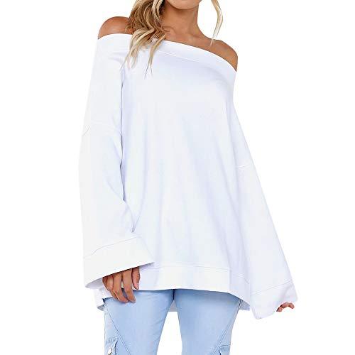 Preisvergleich Produktbild Sannysis Damen Pullover Langarmshirt Elegant Frauen Herbst Langarm Aus der Schulter Sweatshirt Pullover Tops Bluse
